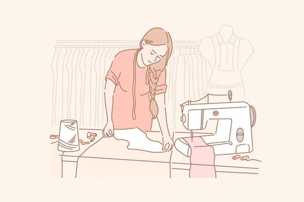 Tailor, dressmaking, sewing concept