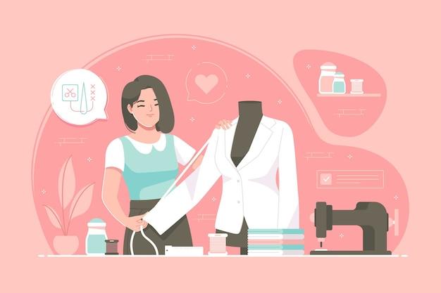 Tailor or fashion designer illustration background