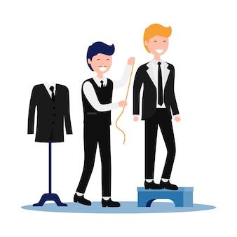Tailor measuring client suit illustration
