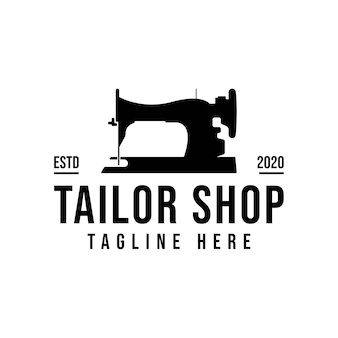 Tailor's  logo design. sewing machine icon. textile emblem. clothes label.