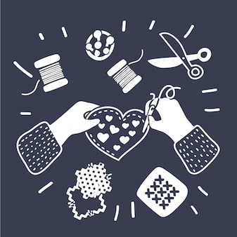 仕立て屋のファッションデザイナーの裁縫レッスンチームの手を調整する