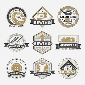 Tailor sewing company vintage isolated label set