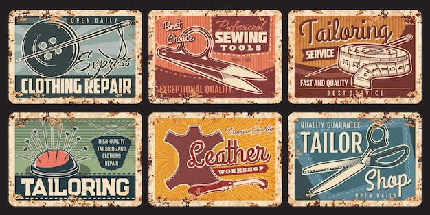 Tailor sewing shop, metal plates rusty and vintage posters, vector. tailoring and fashion design craft atelier and seamstress salon, clothes repair, sewing scissors, needle and leather workshop Premium Vector