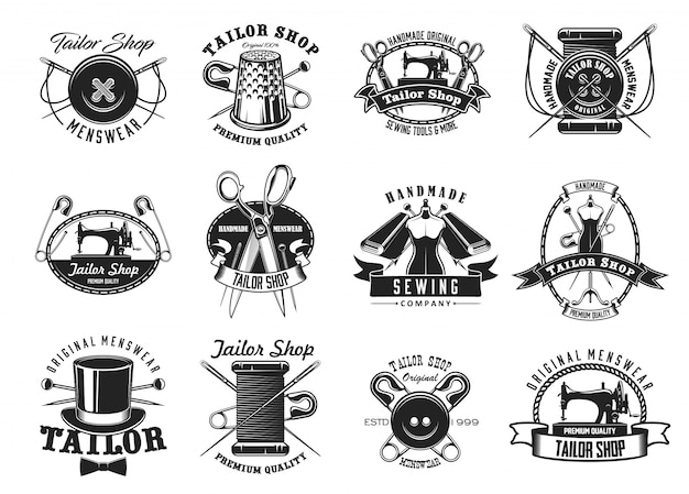 Tailor shop, atelier dressmaker sewing icons