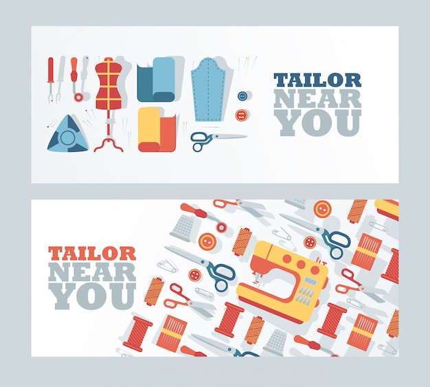 Tailor shop banner,  illustration. atelier dressmaking service, fashion design studio, professional clothing repair.