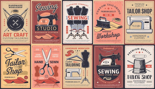 Tailor shop, dressmaking atelier and sewing workshop, vector retro posters. dressmaker seamstress salon, custom tailoring art craft and clothing repair and alternation, premium handmade sewing service