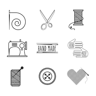 Tailor shop icons around over white background