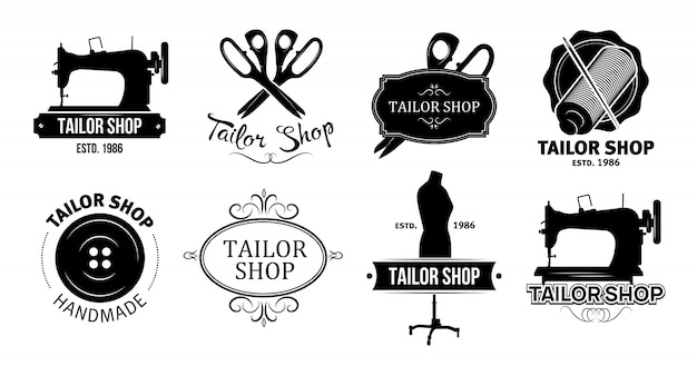 Tailor shop logos set