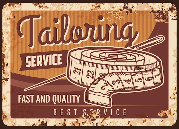 Tailor shop metal plate rusty, sewing atelier and dressmaking salon, retro poster. tailoring and fashion seamstress workshop, clothes repair and alternation service, needle and measure tape