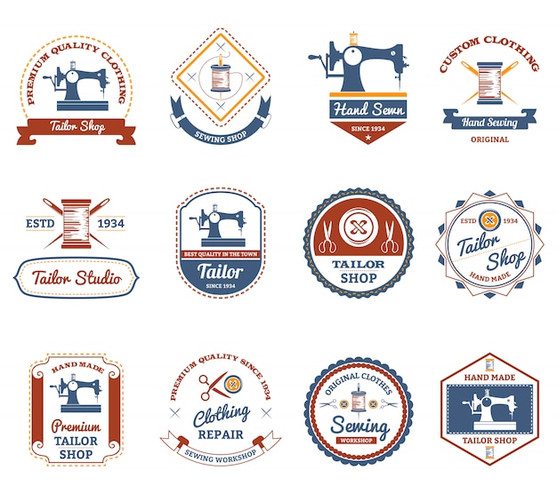 Tailor shop original labels icons set