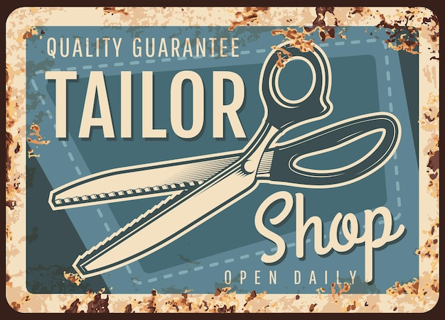 Tailor shop rusty metal plate with scissors and sewing stitch