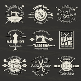 Tailor shop set of vector light emblems