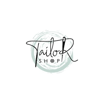 Tailor shop or sewing logo lettering style with needle