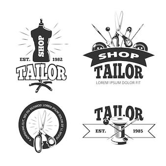 Tailor shop vector labels