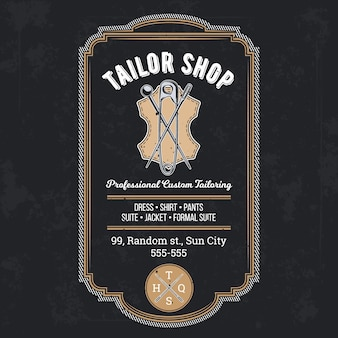 Tailor shop vintage emblem or signage vector