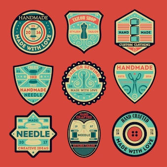 Tailor shop vintage isolated label and badge set