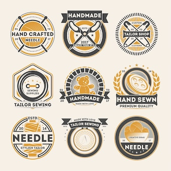 Tailor shop vintage isolated label set