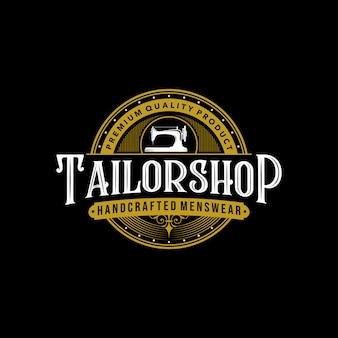 Tailor shop vintage logo premium tattoo typography design