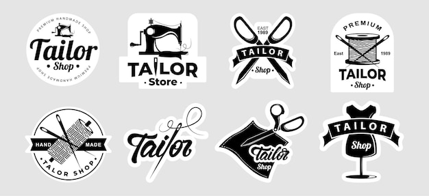 Tailor sticker big set isolated on grey
