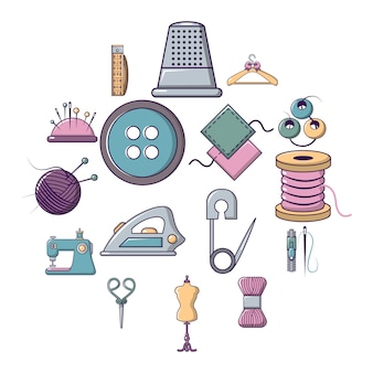 Tailor tools icon set, cartoon style