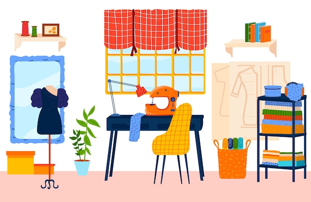 Tailor work place flat vector illustration. cartoon handicraft or needlework, seamstress dressmaker designer studio room interior