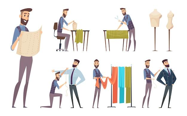 仕立て屋。縫製アトリエマスタードレスメーカーキャラクターベクトル漫画の人々