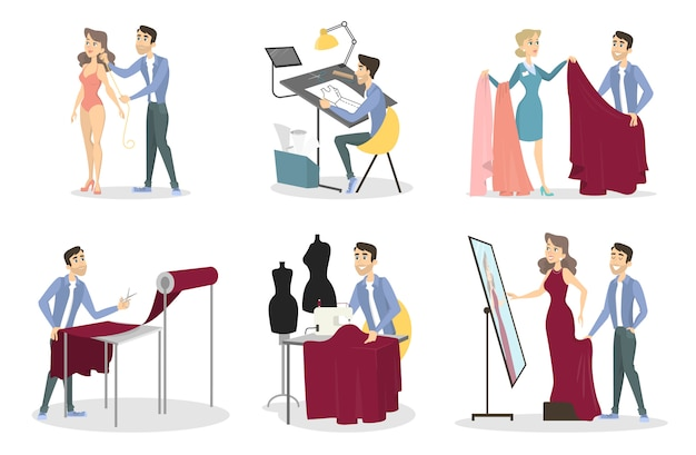 Tailoring illustrations set. man sewing a dress for woman.