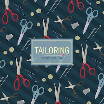 Tailoring seamless pattern with scissors and pins