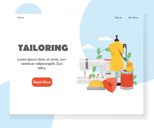 Tailoring website landing page template