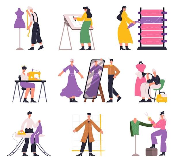 仕立て屋、ファッションデザイナー、アトリエの針子、洋裁のキャラクター。服のデザイナーの仕立てと縫製のベクトルイラストセット。針子とファッションデザイナー。アトリエで仕立てる