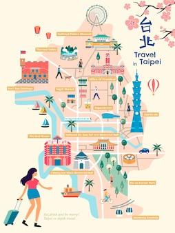 타이베이 시내지도, 아름다운 스타일의 랜드 마크 및 사용 경로, 오른쪽 상단에 중국어로 타이페이 이름, 빨간색 건축물에 건물 이름