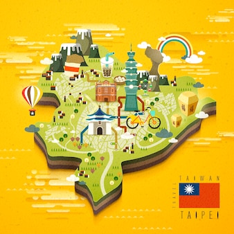 Taipei famous attractions travel map