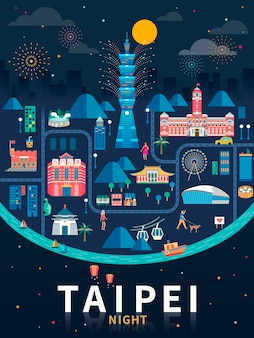 Taipei night  , taiwan travel concept illustration with famous landmarks in night