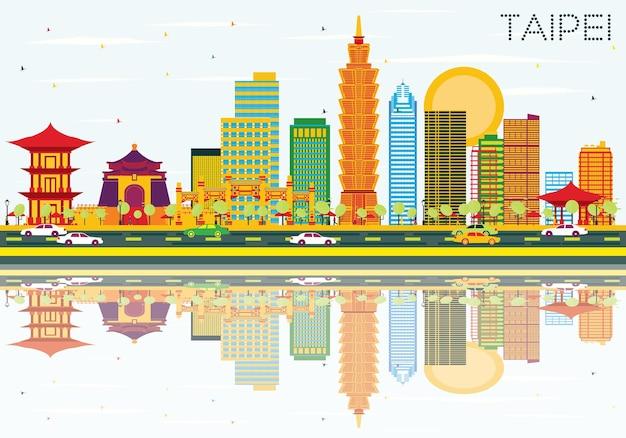 Горизонт тайбэя с цветными зданиями, голубым небом и отражениями. векторные иллюстрации. деловые поездки и концепция туризма. изображение для презентационного баннера и веб-сайта.