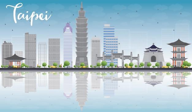 Taipei skyline with grey landmarks, blue sky and reflection