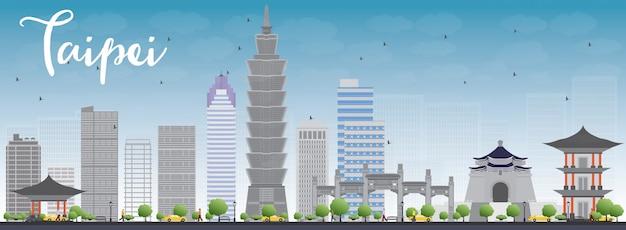 Taipei skyline with grey landmarks and blue sky