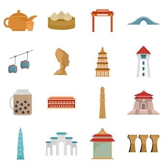 Taipei taiwan city skyline icons set