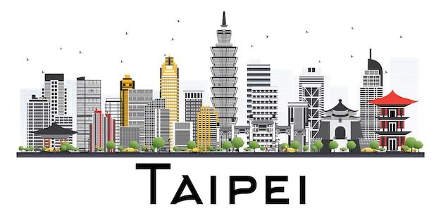 白い背景で隔離の灰色の建物と台北台湾のスカイライン。ベクトルイラスト。出張と観光の概念。