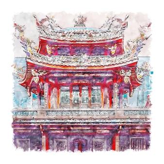 Тайбэй тайвань акварельный эскиз рисованной иллюстрации