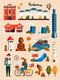 Taiwan attraction set, famous architecture and landmark  on beige background