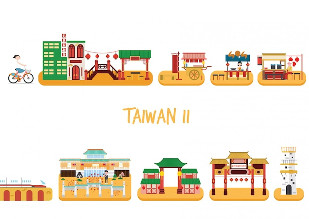Taiwan building vector pack