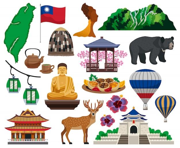 Коллекция элементов тайваньской культуры