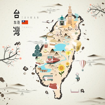 Taiwan famous attractions travel map  ink style
