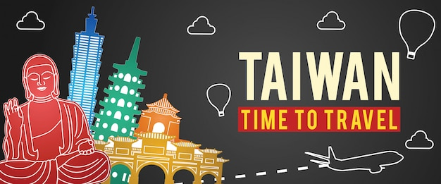 Taiwan famous landmark silhouette colorful style