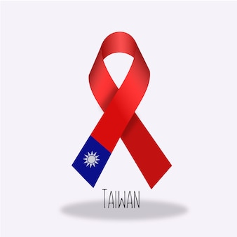 Taiwan flag ribbon design