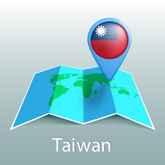 Taiwan flag world map in pin with name of country on gray background