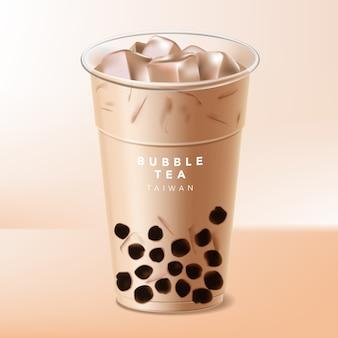 Taiwan iced  bubble tea or boba milk tea illustration