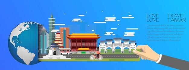 Taiwan infographic, global with landmarks of taiwan