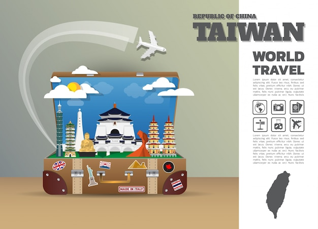 Taiwan landmark global travel and journey infographic luggage. design  template./illustration.