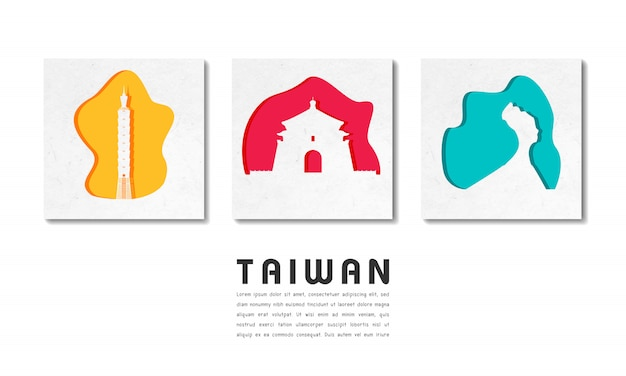 Taiwan landmark global travel and journey paper with text template
